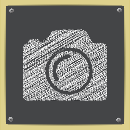 photo camera illustration. Taking picture flat vector icon