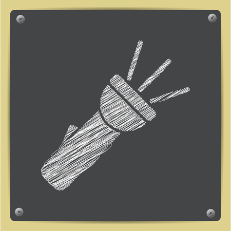 Turned on flashlight illustration. Searching flat vector icon