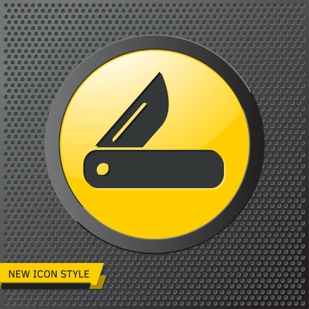 Tourist knife illustration. Traveling simple flat vector icon.