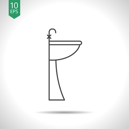 Sink with faucet illustration. Bathroom vector icon Illustration