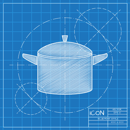Closed cooking pan illustration. Kitchen soup pot vector icon