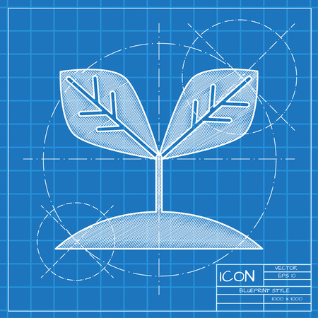 Planting seed sprout in ground illustration. Grow vector icon