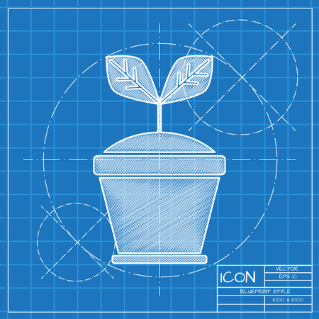 Planting seed sprout in pot illustration. Grow vector icon