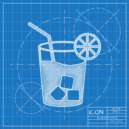 Lemonade with drinking straw illustration. Iced drink vector icon Çizim