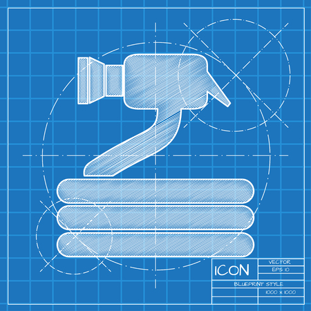 Garden hose with spray gun illustration. Irrigation and agriculture vector icon