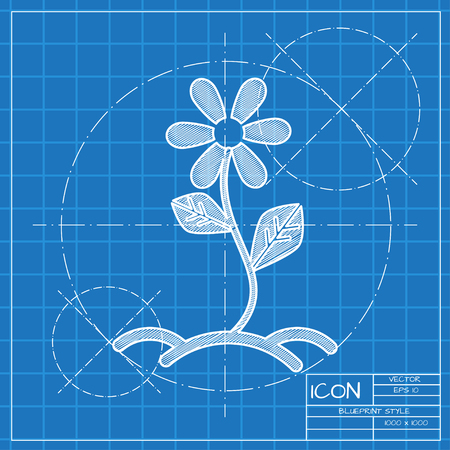 Growing flower sprout in ground illustration. Agriculture vector icon