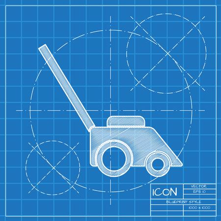 Lawn mower illustration. Gardening machine technology equipment tool vector icon