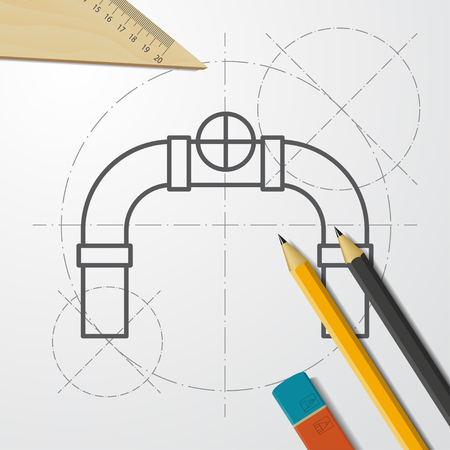connecting pipes valve illustration. plumbing flat vector icon