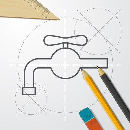 Faucet with valve illustration. Hand wash flat vector icon