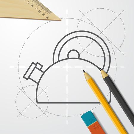 Hot kettle with water illustration. Kitchen utensils flat vector icon 矢量图像