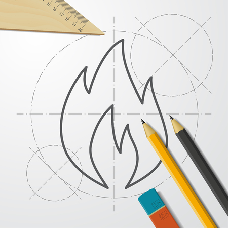Burning hot flame illustration. FIre flat vector icon