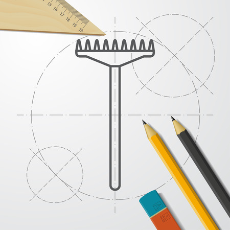 Rake for land cultivation illustration. Tool for agriculture and farming vector icon Illustration