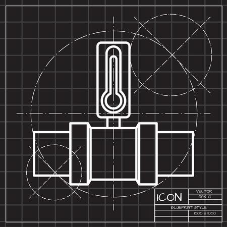 Pipe temperature measurement meter monitor illustration. Industrial valve flat vector icon