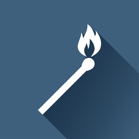 burning match illustration. fire black icon Ilustração