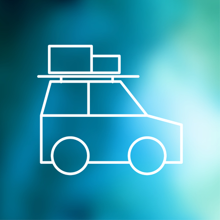 Traveling by family car activity illustration. Journey vector icon