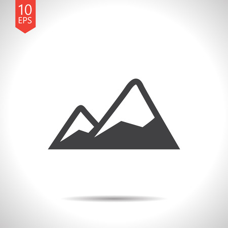 Mountains covered with snow illustration. Nature vector icon
