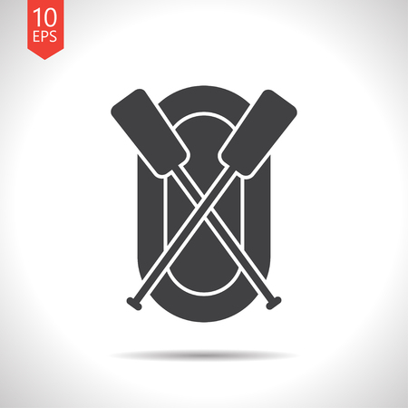 rafting infatable boat with oars illustration. Sport and traveling vector icon