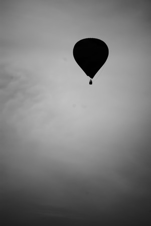 adventure aeronautical: Baloon in the sky BW in autumn