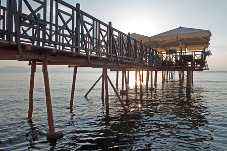 greece shoreline: Jetty near Kaisers Bridge in morning Greece, Corfu