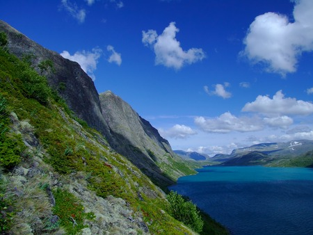 Lake Gjende in Norway during summer