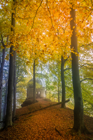 small chapel in autumn forest Stock Photo