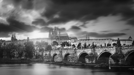 views of the city and the bridge over the Vltava