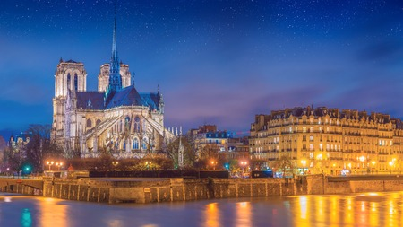 View of Notre Dame after sunset