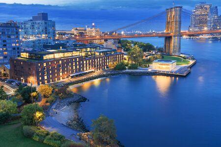 a magnificent view of the Manhattan, Brooklyn Bridge and Brooklyn