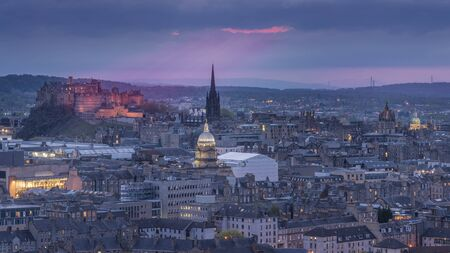 Night view of the city of Edinburgh, Scotland Stock Photo