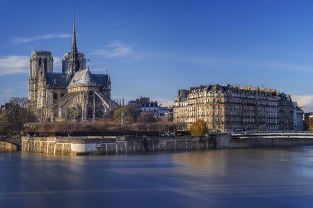 amazing view of Notre Dame after sunset, Paris, France