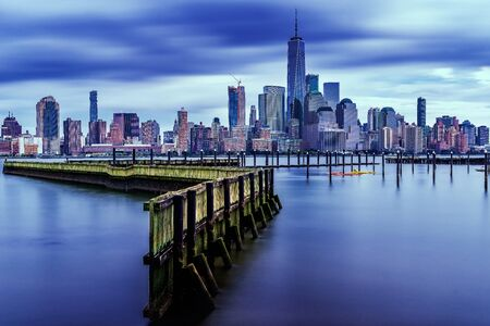 amazing view lower Manhattan , financial district with sunset, New York City Фото со стока