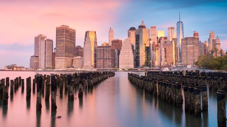 a gorgeous outlook on the lower Manhattan at sunset Фото со стока