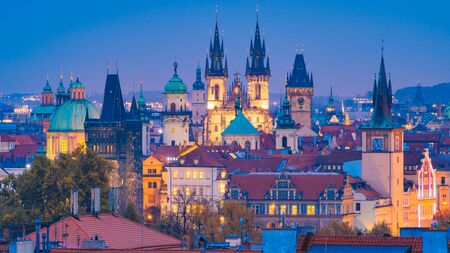 Beautiful views of Prague's towers and rooftops, Czech Republic
