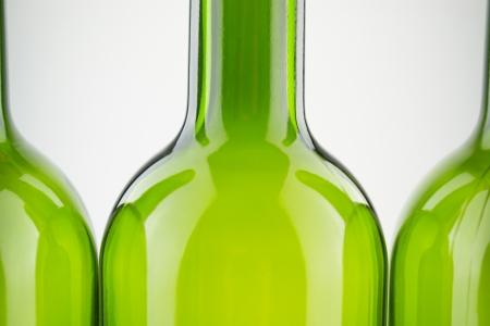 empty green wine bottles isolated on white Stock Photo - 18217961