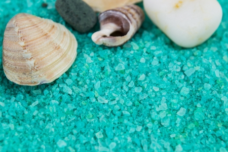 pebblestone: Pebbles And Shells  on blue bath salt