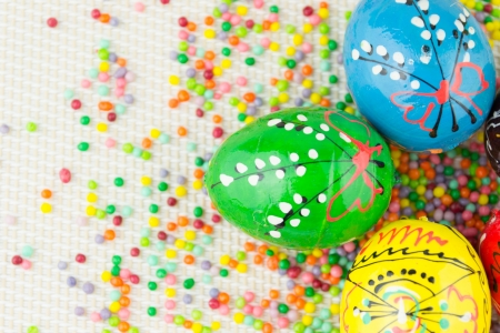 Handmade painted Easter eggs photo
