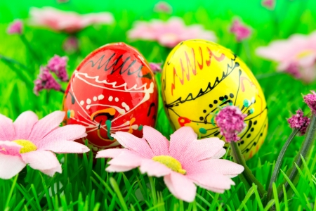 Colorful easter eggs in a row on green grass photo