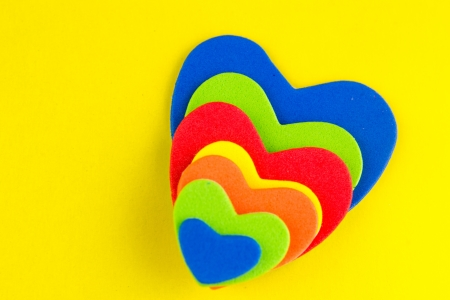 Colorful hearts stickers background photo