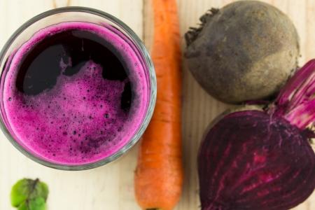 Closeup of Fresh Red Beet Juice Foto de archivo