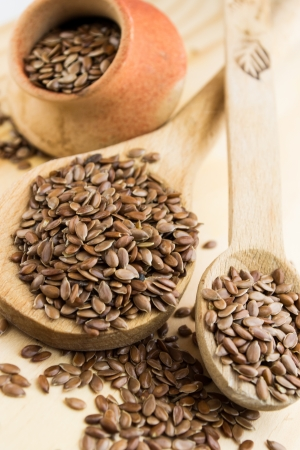 close up of flax seeds in a wooden spoon