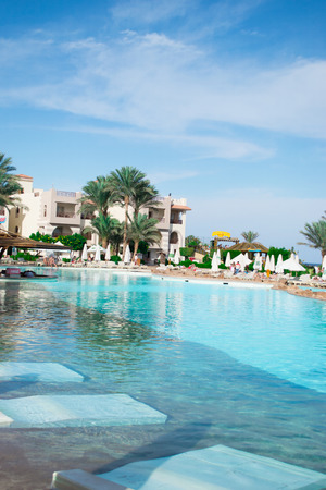 el sheikh: SHARM EL SHEIKH, EGYPT - DECEMBER 15: The tourists are on vacation at popular hotel on December 15, 2014 in Sharm el Sheikh, Egypt.