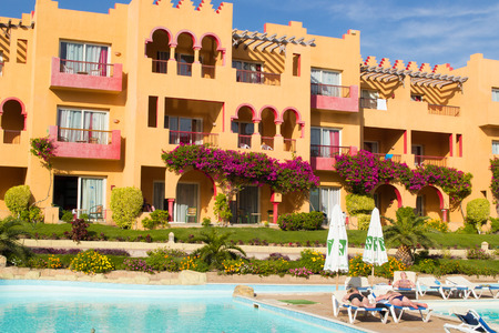 SHARM EL SHEIKH, EGYPT - DECEMBER 15: The tourists are on vacation at popular hotel on December 15, 2014 in Sharm el Sheikh, Egypt.