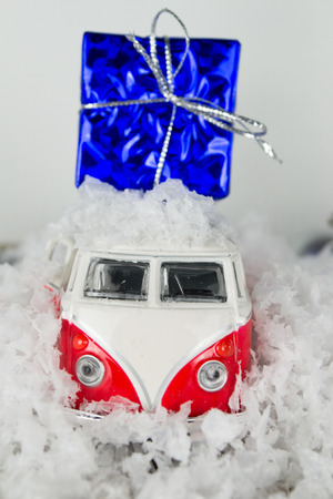 Christmas background. Car with gifts photo