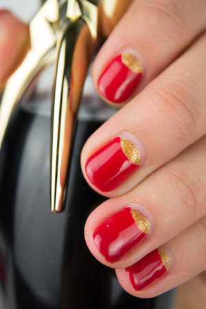 red half moon nail art manicure photo