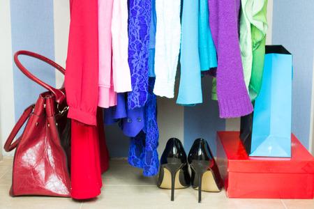 Wardrobe with clothes Banco de Imagens