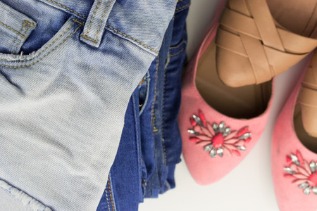 Various female summer shoes with jeans photo