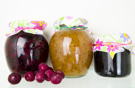 canned goods: Group of homemade preserves canned goods