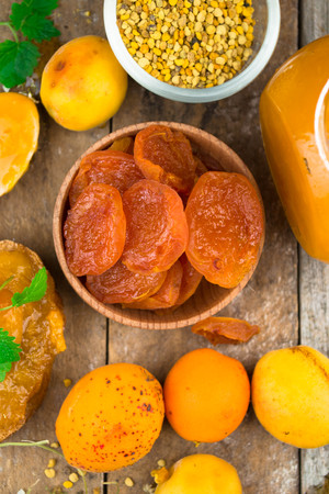 marillenmarmelade: Natural organic dried apricots, apricot jam, and pollen