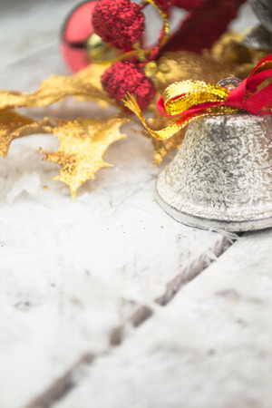 jingle bell: Jingle bell on wooden surface with copy space