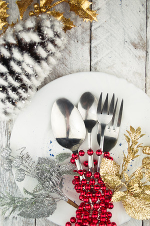 dining room: Christmas And New Year Holiday Table Setting. Holiday Decorations.